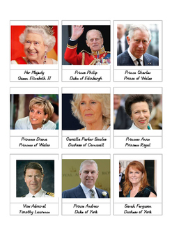UK Royal Family 3-part cards and activity