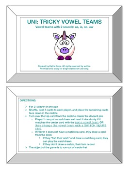 UNI: Tricky Vowel Teams with 2 Sounds Game- Orton Gillingh