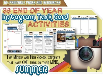 """UNIQUE End of Year """"Instagram"""" Task Cards - Student Favori"""