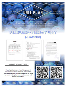 UNIT PLAN - Persuasive Essay (3 Weeks)