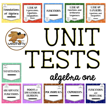 Algebra 1 assessments - UNIT TEST BUNDLE