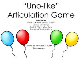 UNO LIKE ARTICULATION GAME SOUND BUNDLE (R, Vocalic R, TH, S)