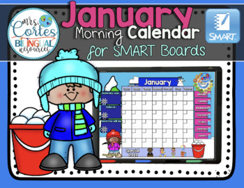 SMARTBOARD Calendar Math-January  (English)