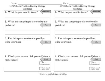 UPS/Check Problem Solving Work Mat