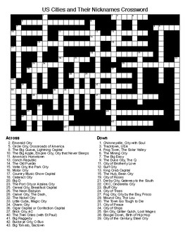 US Cities and Their Nicknames Crossword