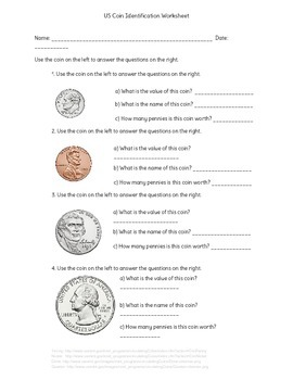 US Coin Identification Worksheet with Answer Key