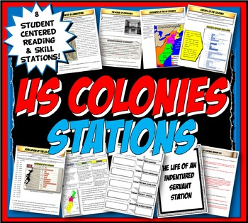US Colonies Stations Activity with Graphic Organizer & Fol