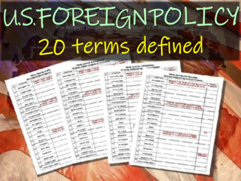 U.S. Foreign Policy 46-slide PPT and graphic organizer (20