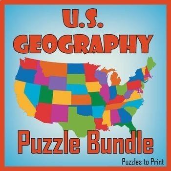 US Geography Puzzle Worksheet Bundle