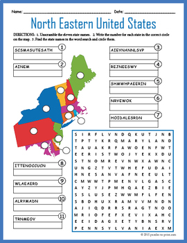 US Geography Worksheet - North Eastern United States