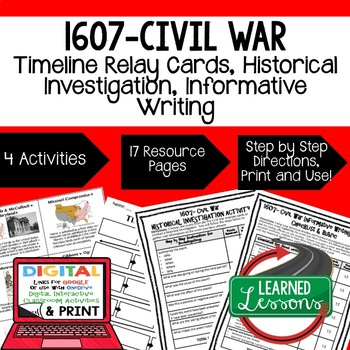 US History 1609-Civil War Timeline Relays &  Writing Promp