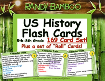 US History -- 169 Flash Cards for 5th-8th Grades (plus 169