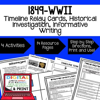 US History 1849-WWII Timeline Relay & Writing with Google