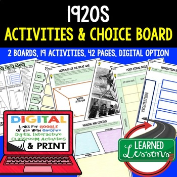 US History 1920s Choice Boards & Activity Pages with Google Link