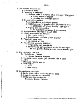 US History: 1980s Outline
