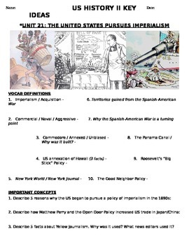 US History 11th grade (2nd Sem) Study Guide Units 21-37 -