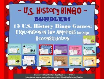 U.S. History BINGO: Exploration in the Americas through Re