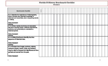US History Benchmark Assessment Chart