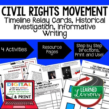 US History Civil Rights Movement Timeline & Writing (Paper