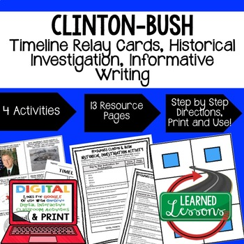 US History Clinton and Bush Timeline Relay & Writing with