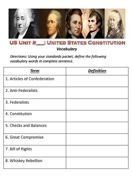 US History Constitution Vocabulary List