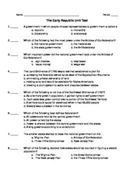 U.S. History: Early Republic Unit Test
