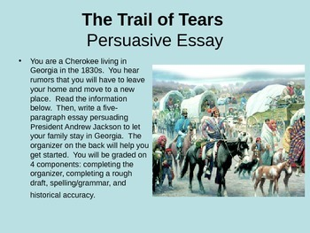 U.S. History Essay Organizer and Presentation, Trail of Te