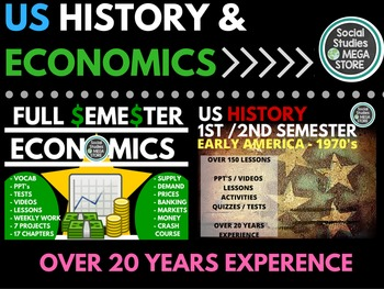 US History First and Second Semester and Economics Full Se