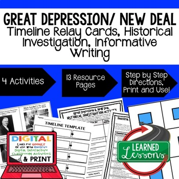 US History Great Depression & New Deal Timeline Relay & Wr
