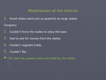 """US History I - Early Years - Chapter 3 """"Creating A Constitution"""""""