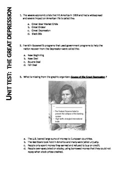 US History II:  Great Depression Unit Test (Aligned with VA SOLs)