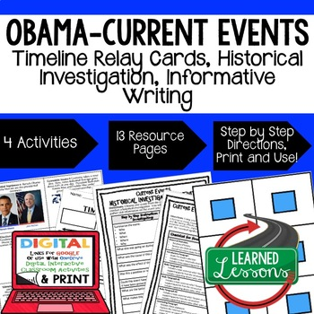 US History Obama and Current Events Timeline Relay & Writi