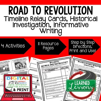 US History Road to Revolution Timeline & Writing (Paper &