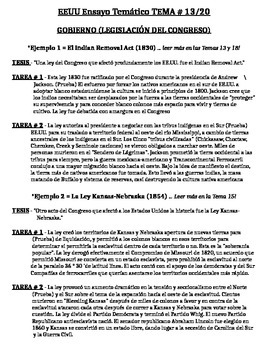 US History - Thematic Essay Topic 13/20 Body Outline Examp