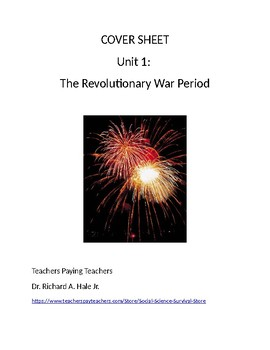 US History: The Revolutionary War Period Common Core Unit Guide