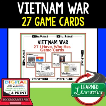 US History Vietnam War Game Cards (27 I Have Who Has Cards)