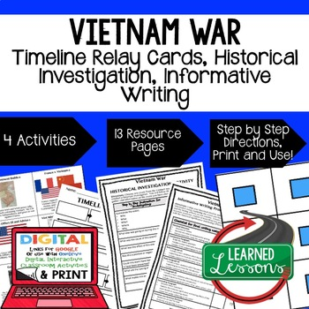 US History Vietnam War Timeline Relay & Writing Prompt Act