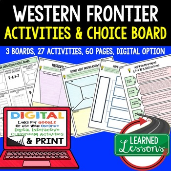 US History Western Expansion Choice Boards & Activities wi