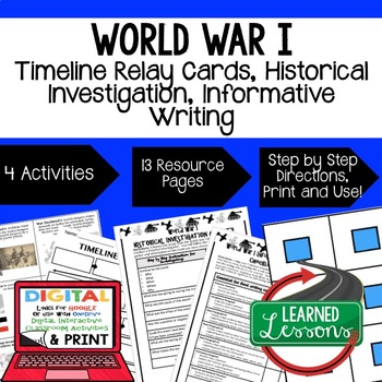 US History World War I Timeline Relay & Writing with Googl