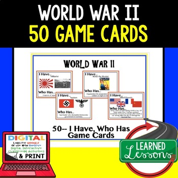 World War II Game Cards (50 I Have, Who Has Cards)