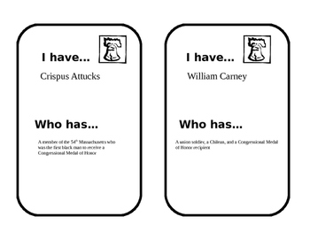 US History figures looping cards