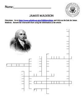 U.S. President Quick Puzzle- James Madison Internet Assignment