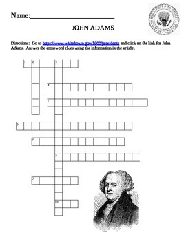 U.S. President Quick Puzzle- John Adams Internet Assignment