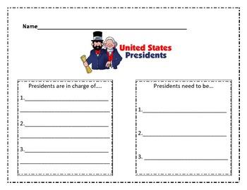 U.S. President Writing Graphic Organizer