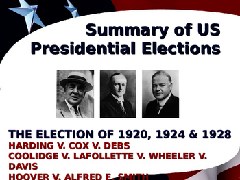 US Presidential Elections - Election of 1920, 24 & 28 - Ha