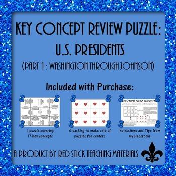 US Presidents Part 1  Key Concept Puzzle
