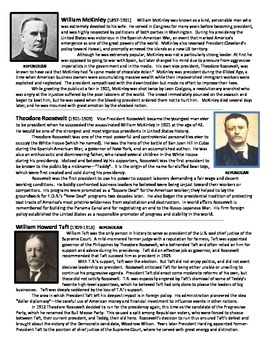 History U.S. - US Presidents Short Readings w/ Questions -