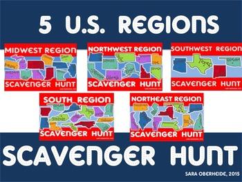 U.S. Regions Scavenger Hunt - Bundle of 5 products