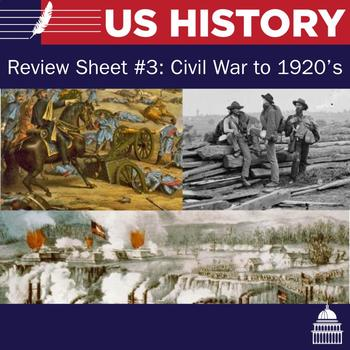 US Review Sheet and Multiple Choice #3: Civil War to 1920s