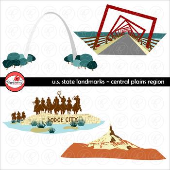 U.S. State Landmarks Central Plains Region Clipart by Poppydreamz